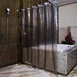 : Grey Shower Curtains ABC life SGS Certified 100% Safety EVA Material Mildew &Water Resistant No Chemical Odor Non Toxic With Hooks