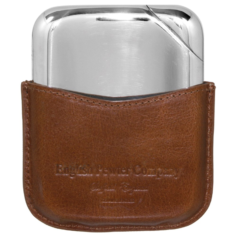Luxury Pewter Hip Flask Contemporary Design with Genuine Leather Pouch English Pewter Company Novus Flask NOV01