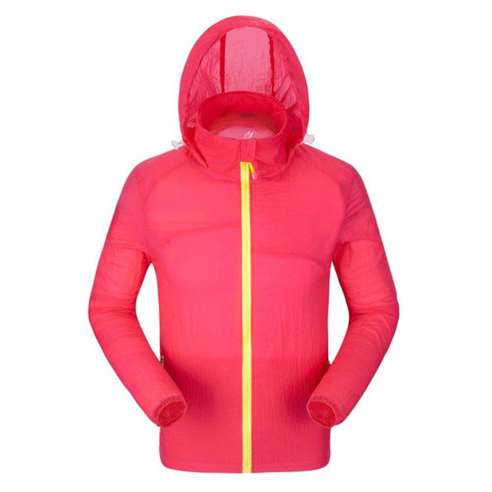 Men UV Sun Protection Outdoor Rainwear Windproof Lightweight Jacket Skin Coat (Red, XL) by WSLIFE