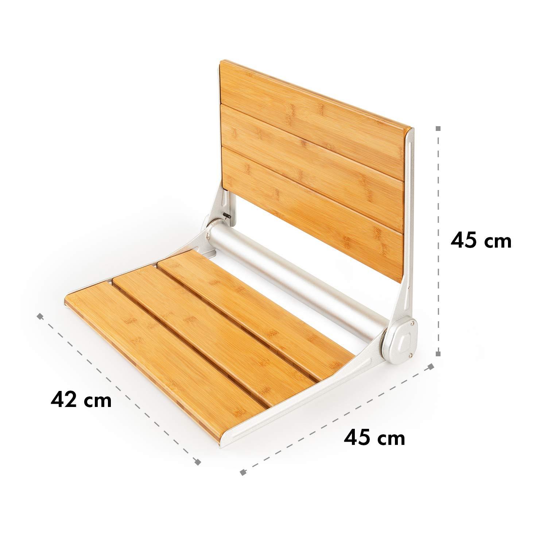 incl Oneconcept Arielle Legno Gancio in Alluminio Superficie in Bamb/ù Materiale di Montaggio Sedile da Doccia Pieghevole Peso max.: 160 kg
