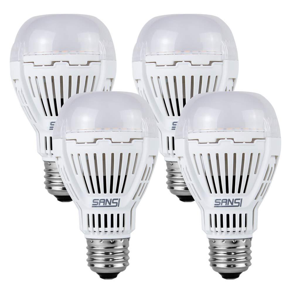 [UPGRADE] 13W (100 Watt Equivalent) LED Light Bulbs, 5000K Daylight Super Bright 1600 Lumens LED Bulbs, Non-Dimmable, A19 LED Light Bulbs, E26 Medium Screw Base, 4-Pack, SANSI