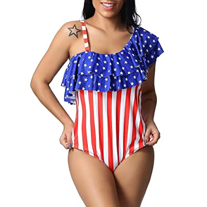c29a913cb12 Amazon.com : DaoAG-July 4th Women Patriotic Swimsuit Ruffle American ...