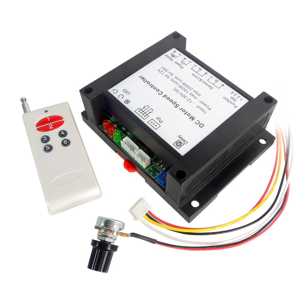 uniquegoods 12V-30V 24V 200W DC Wireless Remote Motor Speed Controller  Adjustable Reversible Control Switch Reversing Upgraded Driver - -  Amazon.com