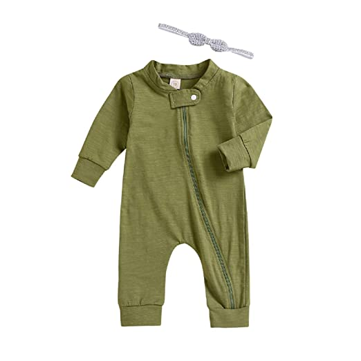 af501f4659 Baby Girl Zipper Pajamas Baby Boy Long Sleeve Sleeper Romper Headband 2Pcs  Clothes Outfit (Green
