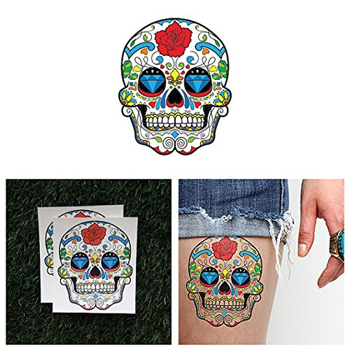 [Tattify Rose Sugar Skull Temporary Tattoo - Jawbreaker (Set of 2) - Other Styles Available and Fashionable Temporary Tattoos - Tattoos that are long lasting and] (Sugar Skull Makeup Ideas)