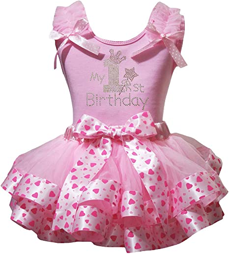 Petitebella 1st Birthday Dress White Shirt Dot Ribbon Pink Petal Skirt Set Nb-2y
