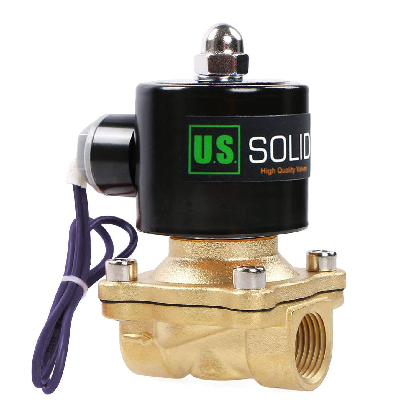 1/2'' NPT Brass Electric Solenoid Valve 12V DC Normally Closed VITON from U.S. SOLID by U.S. Solid