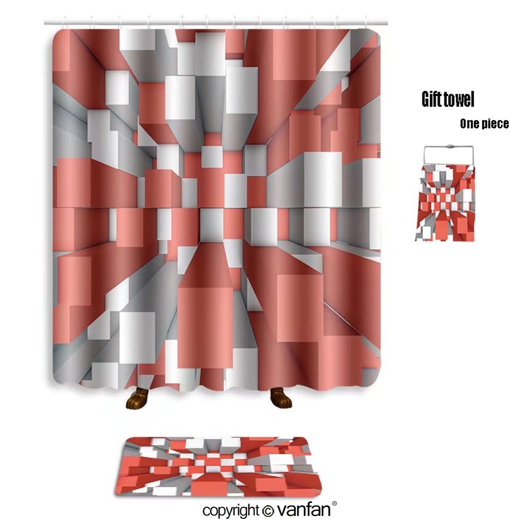 vanfan bath sets with Polyester rugs and shower curtain illustration of abstract mosaic three dimensi shower curtains sets bathroom 40 x 72 inches&23.6 x 15.7 inches(Free 1 towel and 12 hooks)