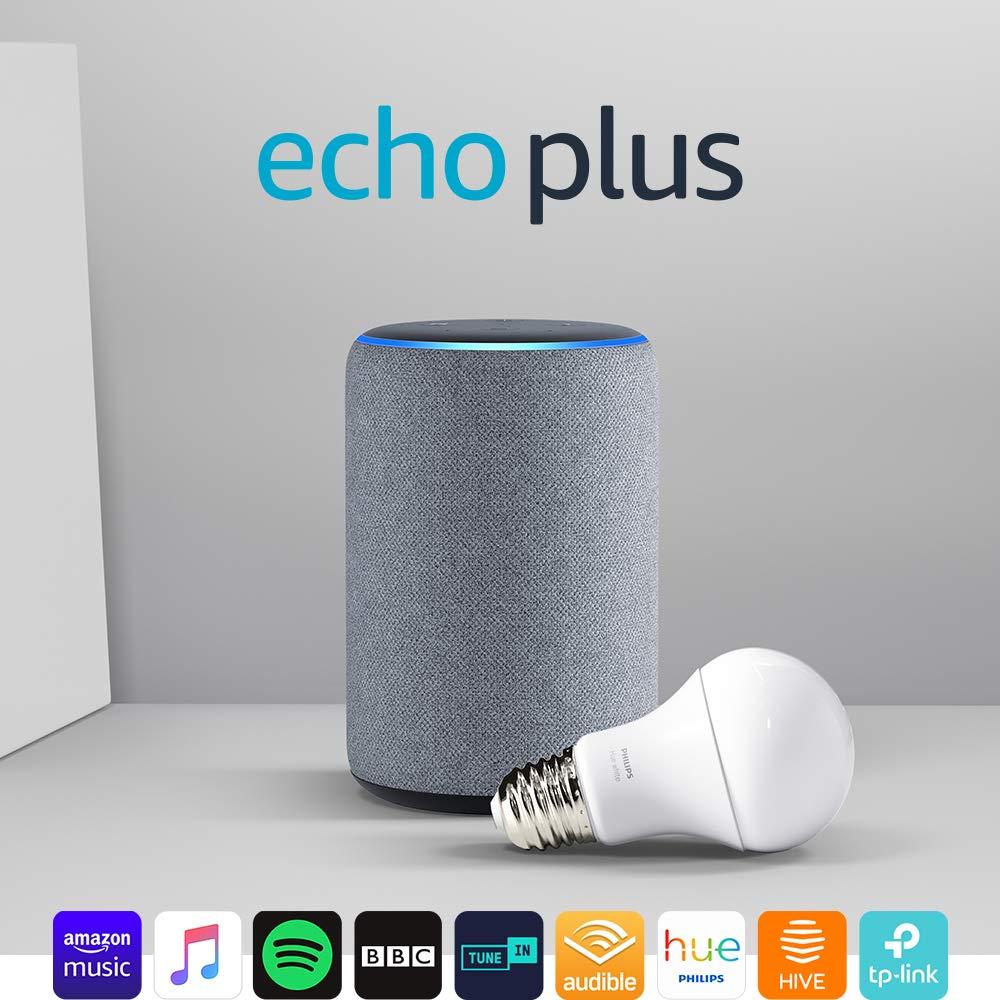 Echo Plus (2nd Gen), Heather Grey + Philips Hue White bulb E27