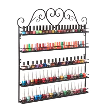 Sensational Dazone Nail Polish Wall Rack 5 Layer Organizer Holds 100 Bottles Nail Polish Shelves Black Interior Design Ideas Tzicisoteloinfo