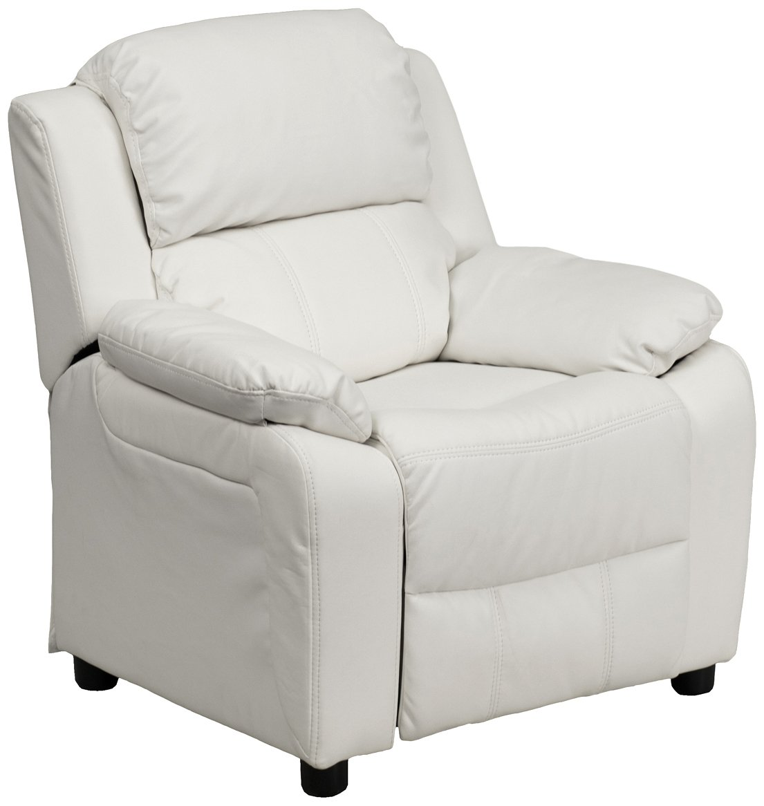 Offex OF-BT-7985-KID-WHITE-GG Deluxe Heavily Padded Contemporary White Vinyl Kids Recliner with Storage Arms