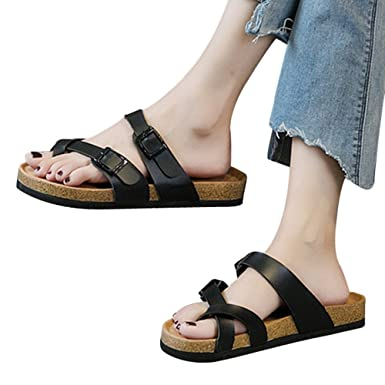 e0936a66a6282 Amazon.com: MILIMIEYIK Slide Sandals Women Heel, Double Buckle ...