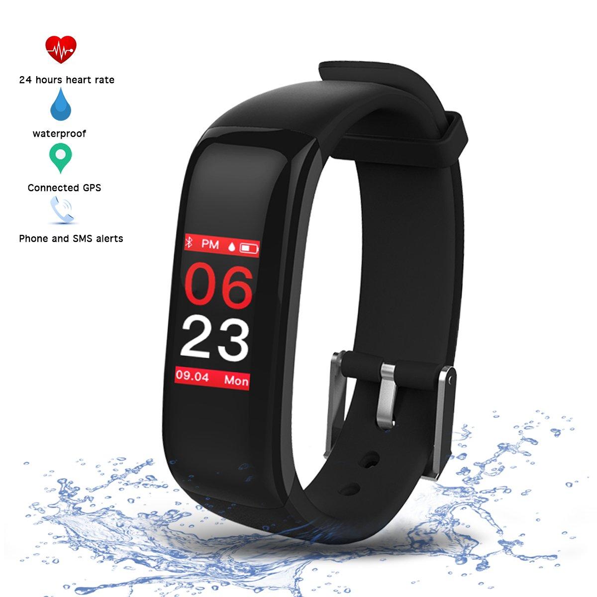 Montre Connectée Tension Arterielle Cardiofréquencemètre Podomètre,Vitroba S3 Bracelet Connecté Etanche IP67 Montre Sport GPS Fitness Tracker dActivité ...