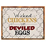 Cheap Framed Wicked Chickens Lay Deviled Eggs Metal Sign, Rustic Country Cottage, Cafe Décor