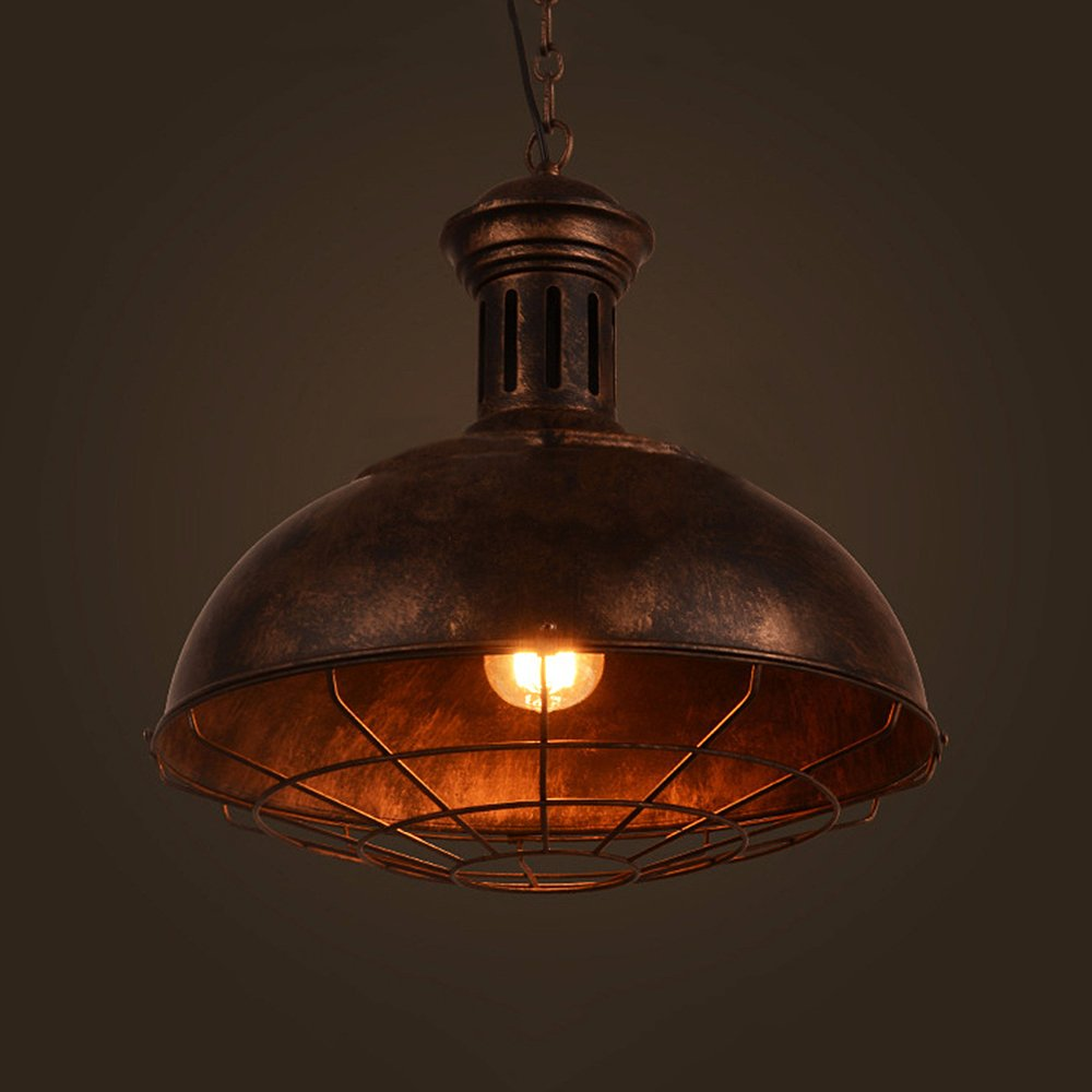 Vintage Industrial Nautical Barn Cage Pendant Light, MKLOT 12.99'' Wide Pendant Lamp with Rustic Dome/Bowl Shape Mounted Fixture Ceiling Light Chandelier in Copper 1-Light with Chain