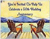 50th Wedding Anniversary Invitations - Adirondack Chair- 25/pk
