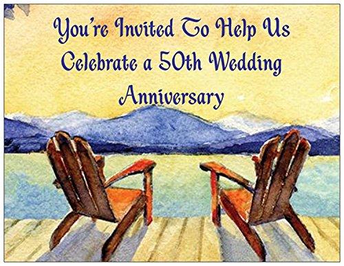 - 50th Wedding Anniversary Invitations - Adirondack Chair- PERSONALIZED - 50/pk