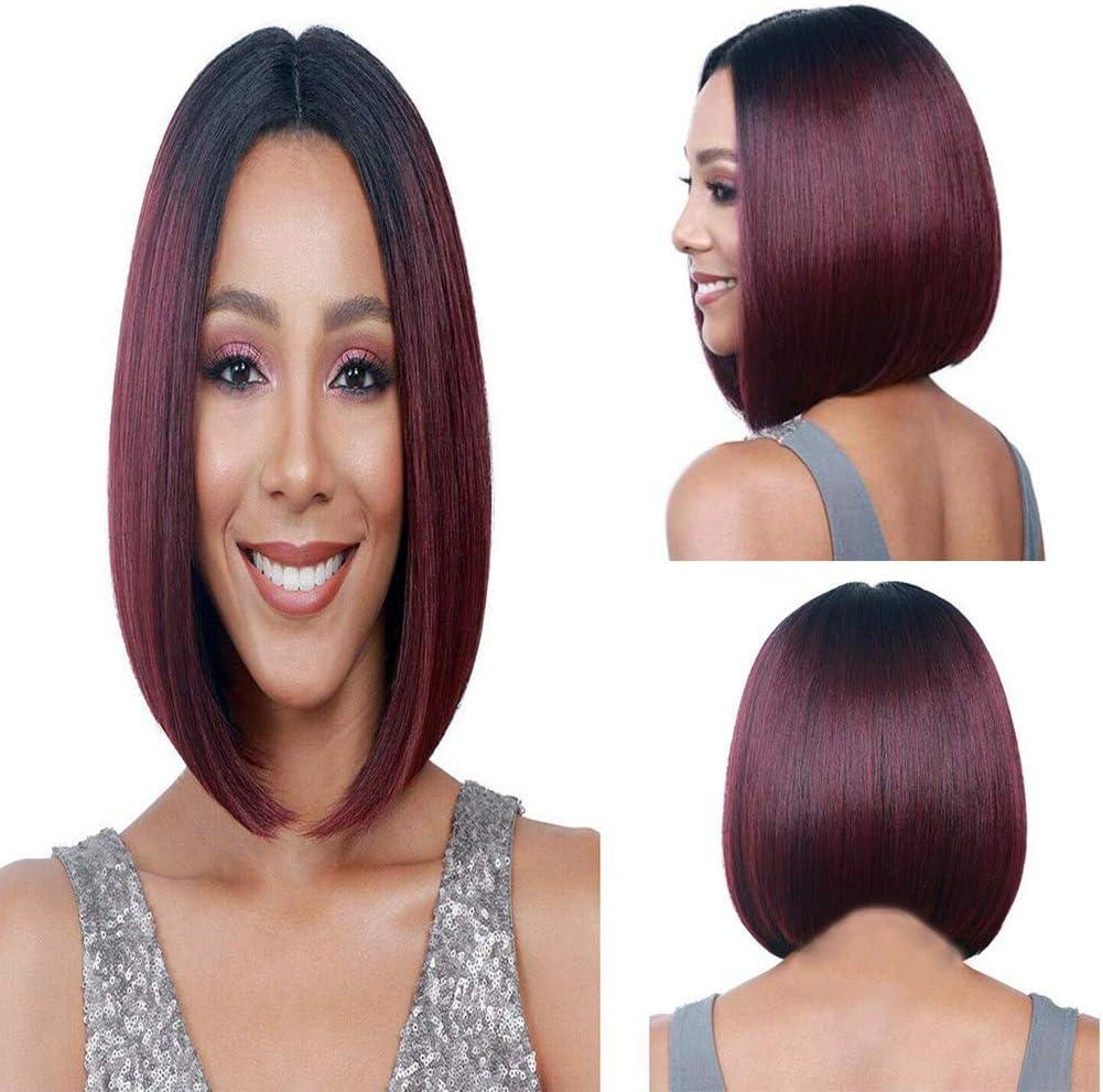 f/ête de No/ël Halloween Ersiman Perruque courte pour femme Rouge bordeaux naturel Cheveux raides avec frange pour cosplay