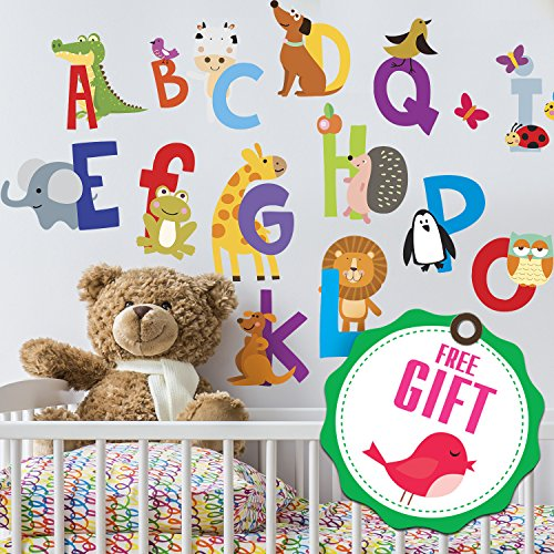 ABC Stickers Alphabet Decals - Animal Alphabet Wall Decals - Classroom Wall Decals - ABC Wall Decals - Wall Letters Stickers - [Gift Included]!