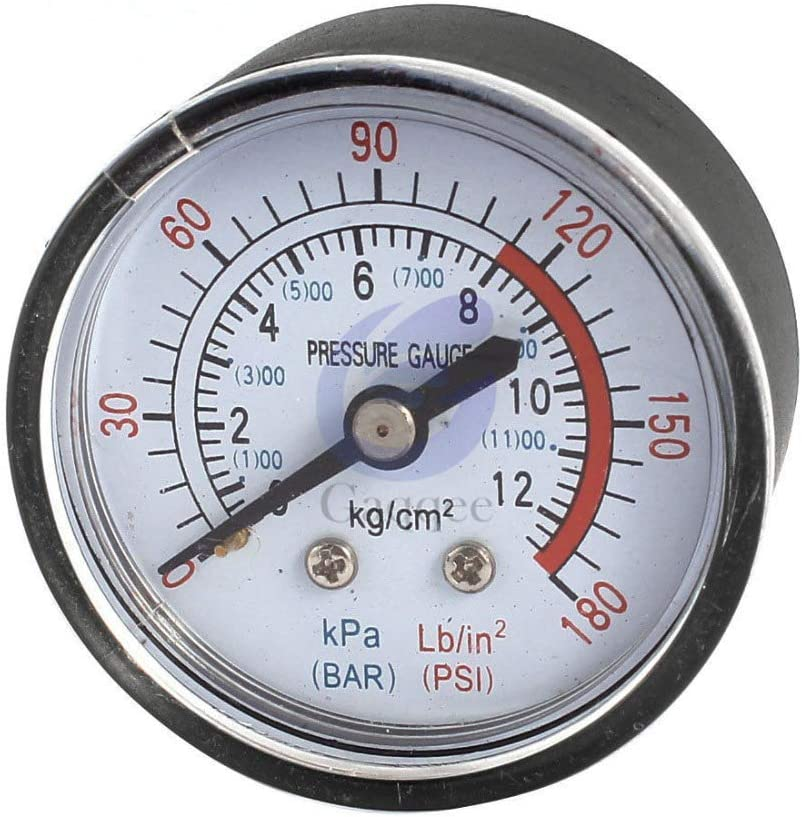 SALAKA 1//4 BSP Male Thread Back Mount 0-180 PSI Air Compressor Parts Pressure Gauge