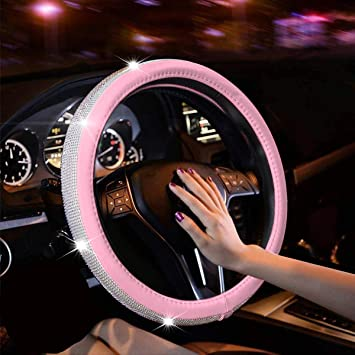 Car Bling Steering Wheel Covers with Car Bling Ring Purple GES Crystal Steering Wheel Cover for Women 15 Inch Diamond Steering Wheel Cover for Car Steering Wheel Cover