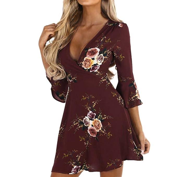 Btruely Damen Kleid Sommer V-Ausschnitt Blumenkleid Boho Strandkleid Slim  Fit Partkleid 3 4 9ac5e9848f