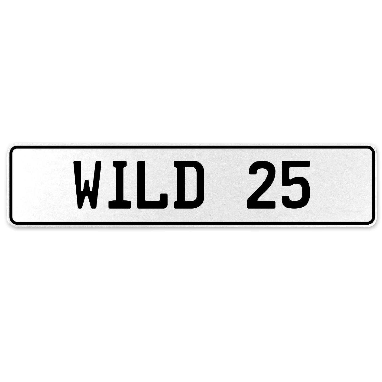 Vintage Parts 555810 Wild 25 White Stamped Aluminum European License Plate
