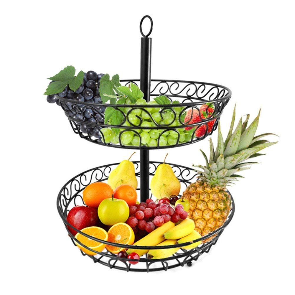 Cesto di frutta, Sundlight 2-tier metal controsoffitto cestino decorativo ciotola supporto per frutta, verdura, snack, pane, domestici XinHome