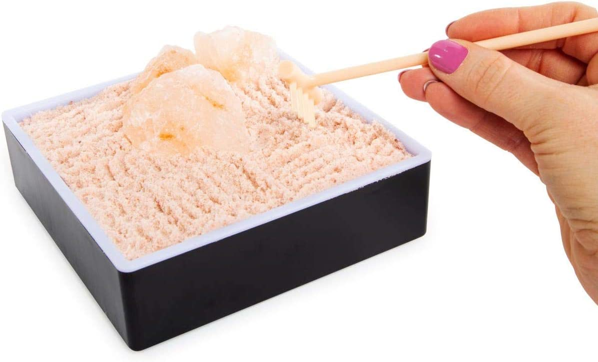 Room2Room Desktop Himalayan Pink Rock Salt Zen Garden with Rake