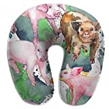 Raglan Carnegie Pig Wild Animal in A Watercolor Style Neck Head Support Travel Rest U Shaped Pillow for Airplane Train Car Bus Office