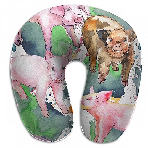 Raglan Carnegie Pig Wild Animal in A Watercolor Style Neck Head Support Travel Rest U Shaped Pillow for Airplane Train Car Bus Office by Raglan Carnegie