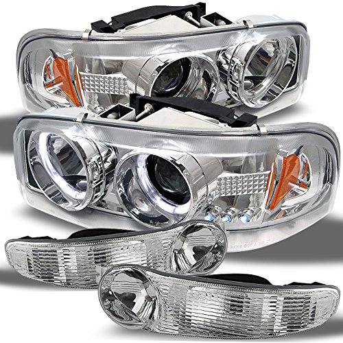 For GMC Sierra 1500 Yukon Denali Chrome Halo Projector LED Headlights + Chrome Bumper Signal Lamps