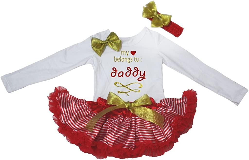 Petitebella Heart Belongs To Daddy L//s Shirt Red White Stripes Baby Skirt 3-12m