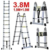 Smarty Double Telescopic Mag Hinge and Dual Ultra Stabilizer Portable Aluminium Ladder (3.8 m)