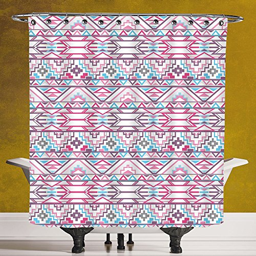Waterproof Shower Curtain 3.0 by SCOCICI [ Pastel,Ikat Style Abstract Geometric Native American Aztec Inspired Artwork,Pink Light Blue Purple ] Machine Washable,Shower Hooks are - Gomez New Selena Style