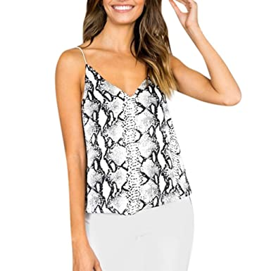 71d41f6b413392 Women s Flowy V Neck Strappy Animal Snake Skin Graphic Print Cami Top Loose  Tank Tops Camisole