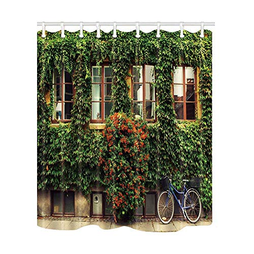 Afagahahs Green House Bike Decor The Window Full with Green Leaves and Flowers Shower Curtain Polyester Fabric Bathroom Decorations Bath Curtains Hooks Included