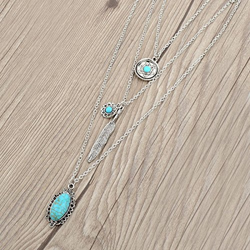 Long Way Vintage Multilayer Feather Flower Turquoise Pendant Necklace Long Coat Women's Chain (Antique Silver Plated) by Long Way (Image #4)