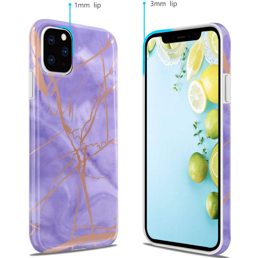 iPhone 11 Pro Max 2019 6.5 Case, Ranyi Gold Stamping Marble Pattern [Support Wireless Charging] Shock Absorbing Resilient TPU Rubber/Silicone Case for Apple 2019 6.5 Inch iPhone 11 Pro Max (Purple) by Ranyi