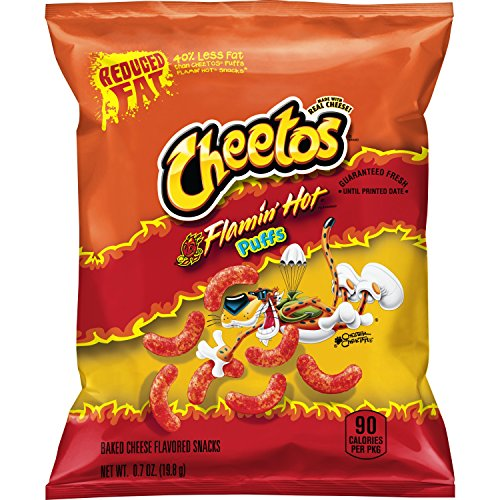 (Cheetos Puffs Reduced Fat Flamin' Cheese Flavored Snacks, 72 Count)