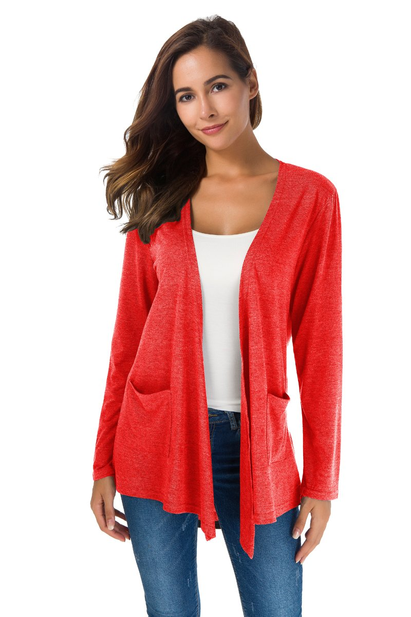NB Women's Extra Soft Natural Classic Long Sleeve Irregular Hem Open Drape Style Cardigan with Pocket (S, Red)
