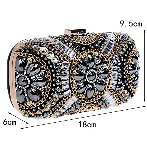 Rhinestone Retro Bag Bag Crystal Ym1142black Clutch Beaded Bag Bags Evening Diamond Beaded wfEEZzq5