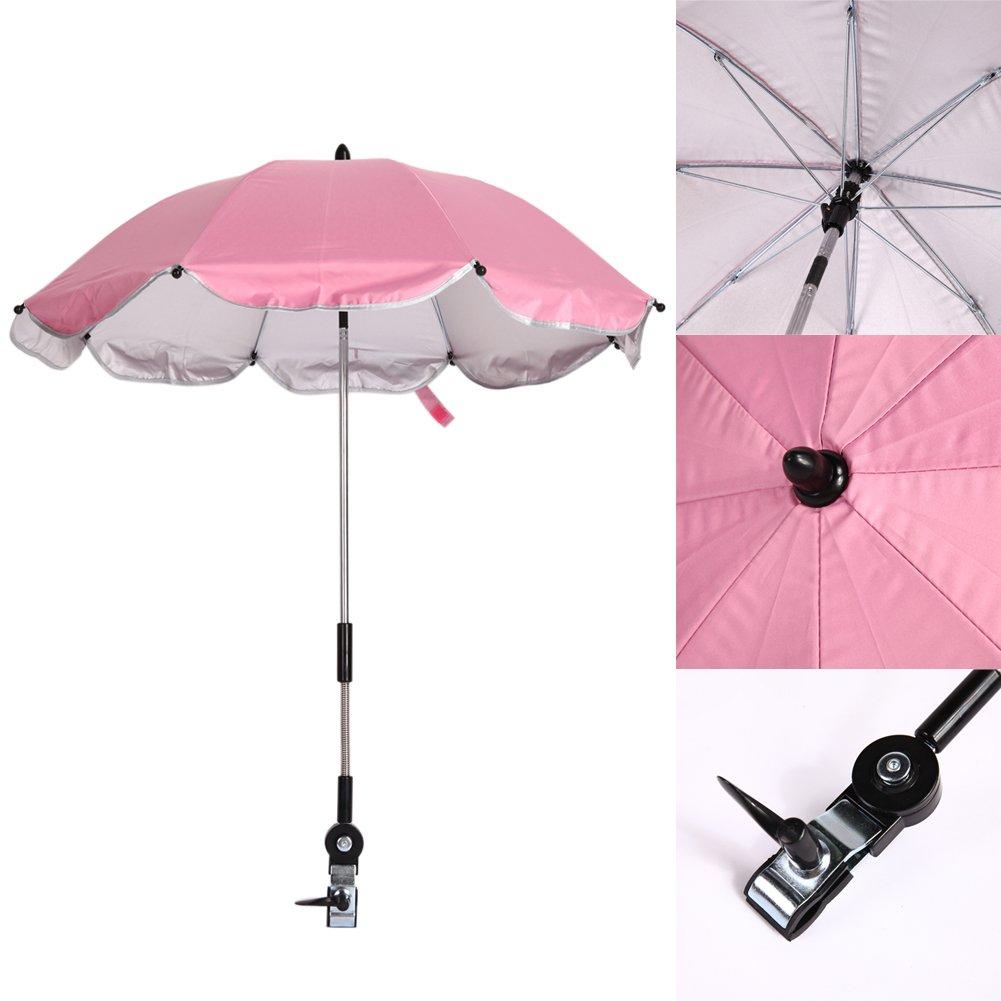 demiawaking Ombrelle pour poussette universel Anti UV de direction r/églable /à 360/degr/és parapluie pour poussette v/élo enfant rose