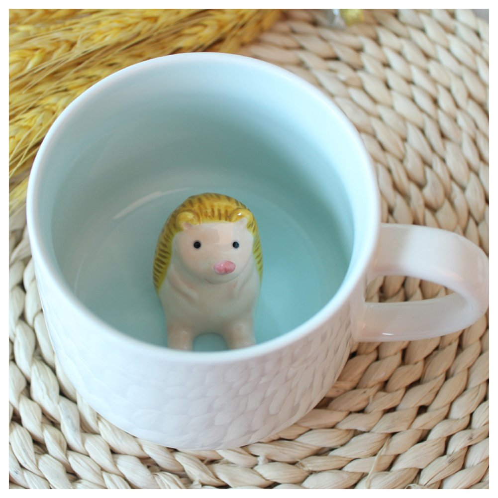 3D Cute Cartoon Miniature Animal Figurine Ceramics Coffee Cup - Baby Hedgehog Inside, Best Office Cup & Birthday Gift (Hedgehog)