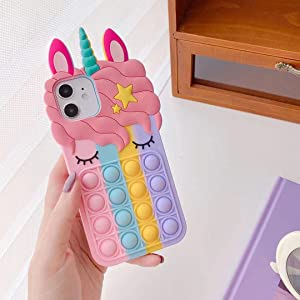 Fidget Toys Case for iPhone 6/7/8/se2020/X/XS,Unicorn Pop It Phone Case for iPhone 11/12/12 Pro,Push Bubble Soft Silicone Pop Shockproof Protecive Case for iPhone (Rainbow, for iPhone 6/7/8/SE)
