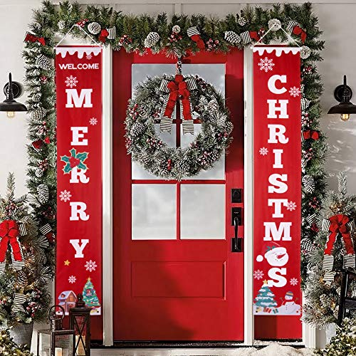 Merry Christmas Banner Outdoor Christmas Decorations Porch Signs Hanging Welcome Porch Wall Flag Indoor Outside Home Fireplace Party Decor (Fireplace Outdoor Hanging)