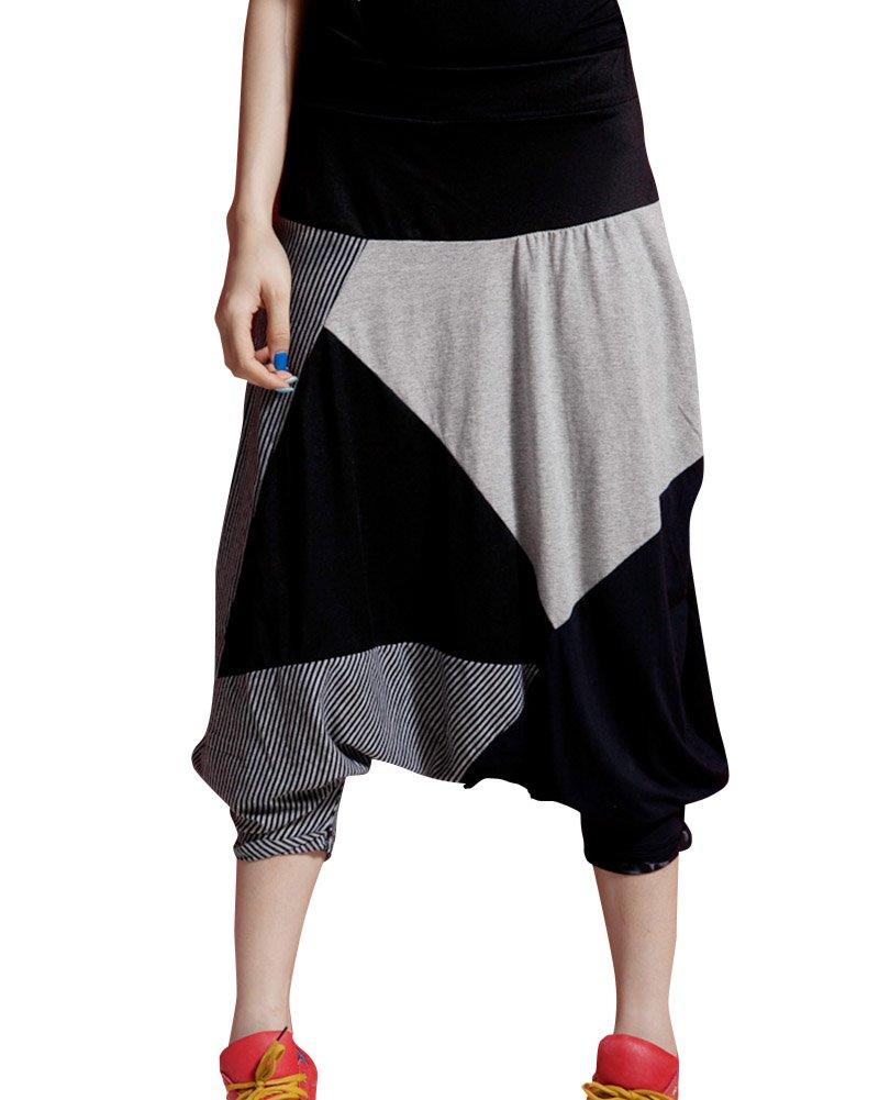 Mujeres Baggy Splicing Cintura Elástica Plus Size Harem Pantalones Negro