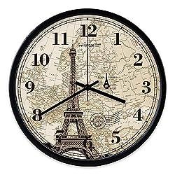 Multi-Clocks Wall Alarm Clock Clocks Retro Art Paris Tower Pattern Living Room Decorative Design Euro Black Frame 12in(30.5cm)
