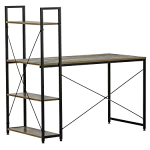 "IRONCK Computer Desk 47"" with Bookshelf, Industrial Home Office Desk, Wood Writing Desk, Space-Saving, Easy Assembly"