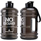 POWERFOODS 2.2L Super Large Sport Water Bottle BPA Free Reusable Plastic Leakproof Lightweight Water Jug Container with carry strap and flip top Cap for Gym and Outdoor Sports - No Excuses